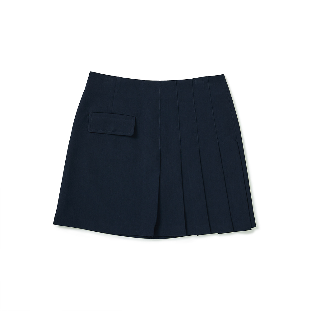 클로브(CLOVE) Pocket Pleated Skirt (Navy)
