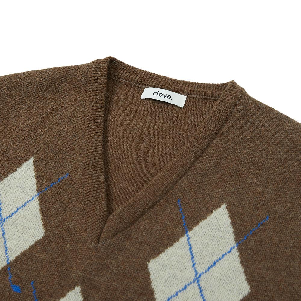 클로브(CLOVE) Argyle Knit Vest (Brown)